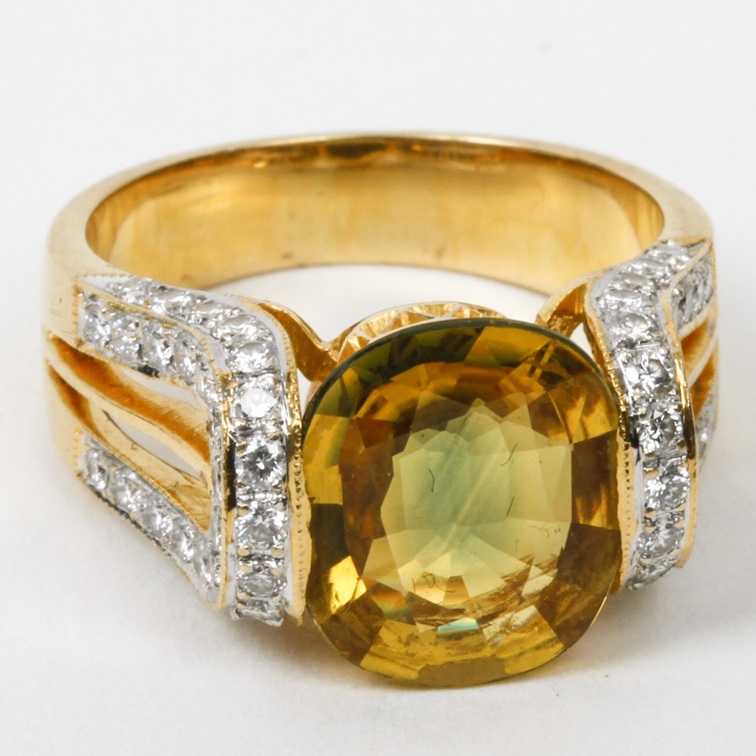 18K Yellow Gold, 3.50 CTS Yellow Sapphire, and 1.00 CTW Diamond Cocktail Ring
