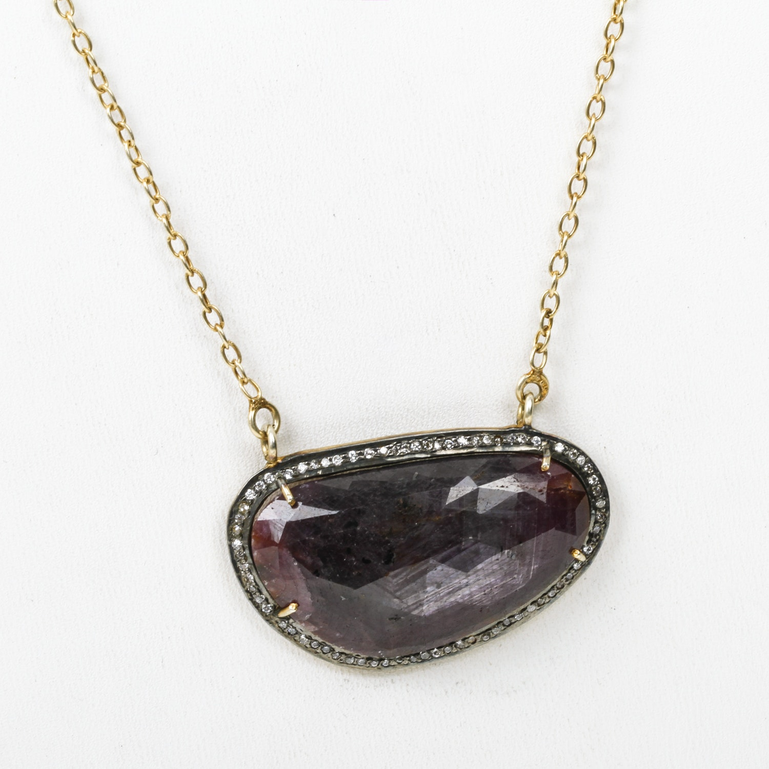 Sterling Silver, Rough Ruby, and Cubic Zirconia Pendant Necklace