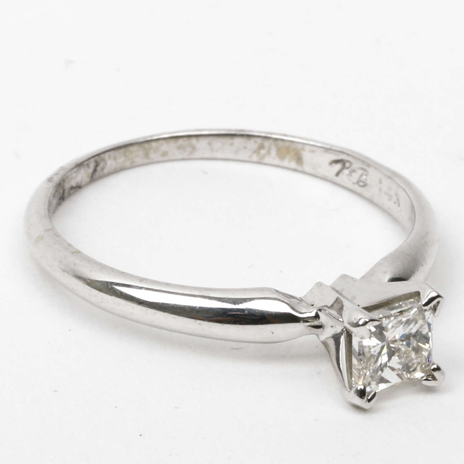 14K White Gold and Princess Cut Diamond Solitaire Ring