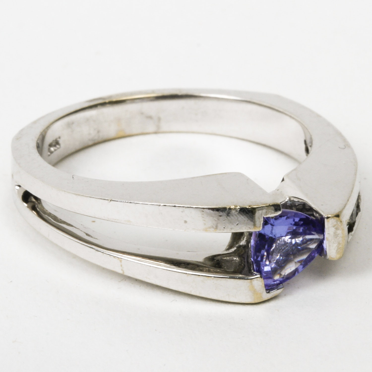18K White Gold, Tanzanite, and Diamond Cathedral Ring