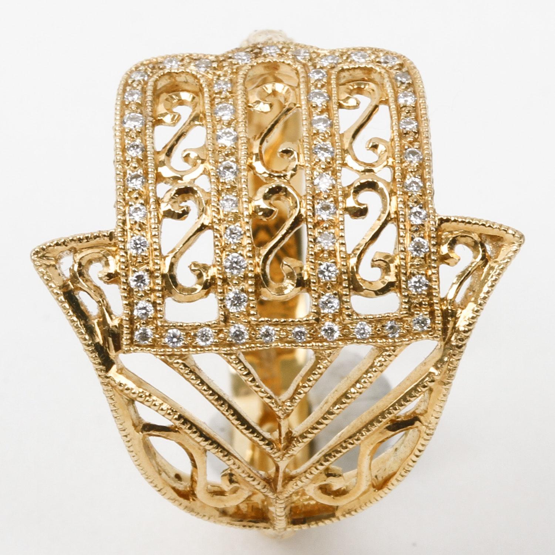 Barry Kieselstein-Cord 18K Yellow Gold and Diamond Hamsa Hand Ring