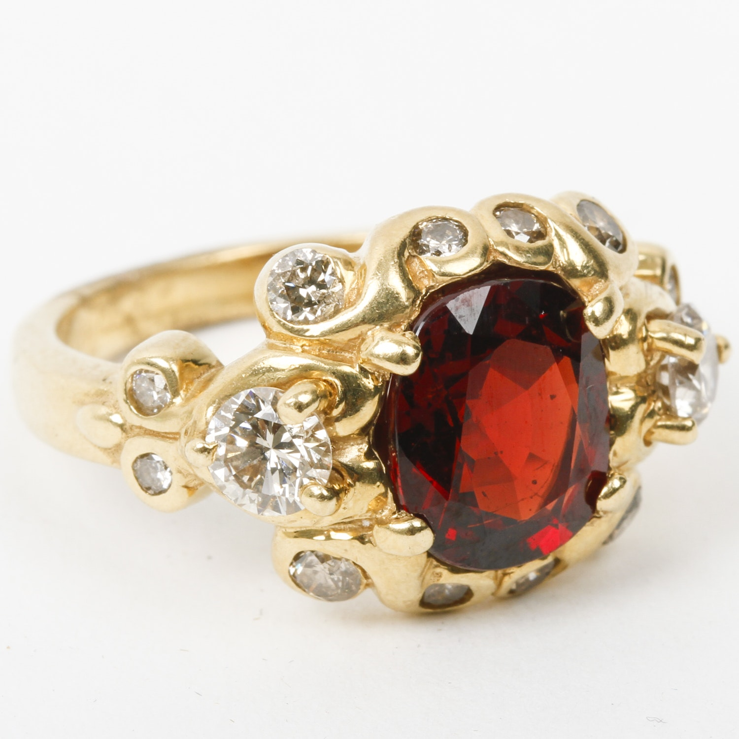 18K Yellow Gold, Synthetic Orange Sapphire, and Diamond Ring