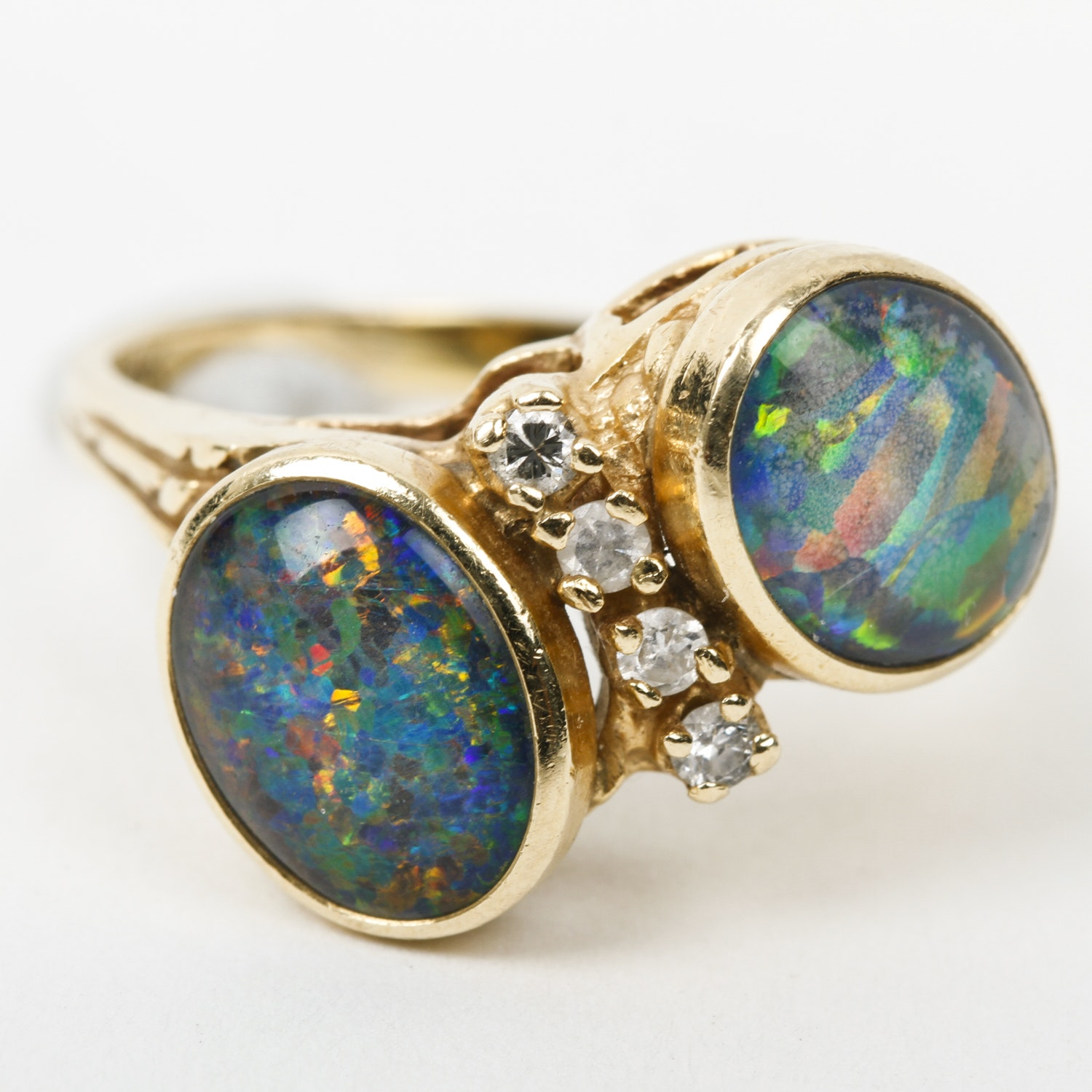 14K Yellow Gold, Opal Triplet, and Diamond Ring