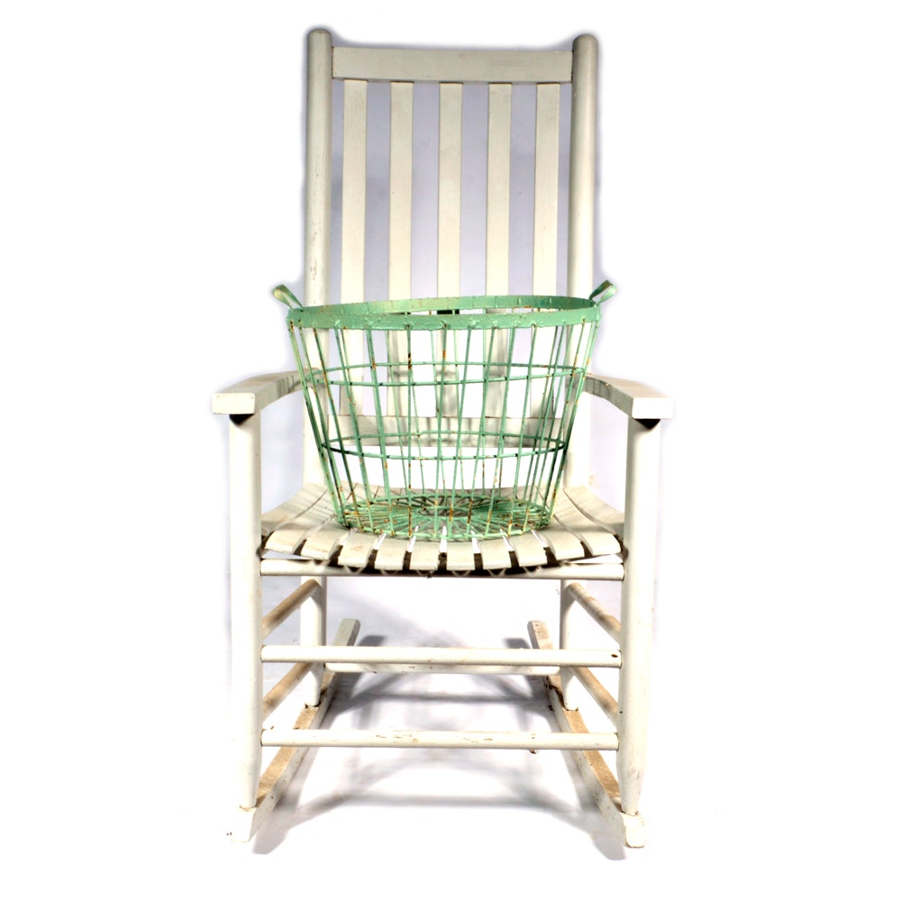 Wire Rocking Chair | Slat Back Rocking Chair And Wire Basket Ebth