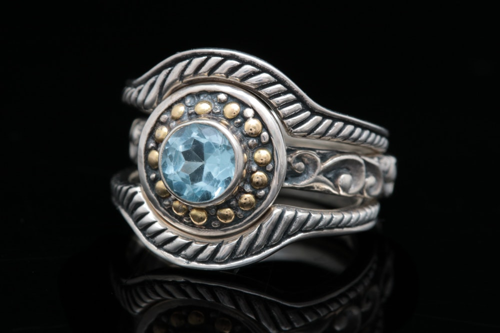 Robert Manse Sterling Silver , 18K Gold and Blue Topaz Three Ring Set
