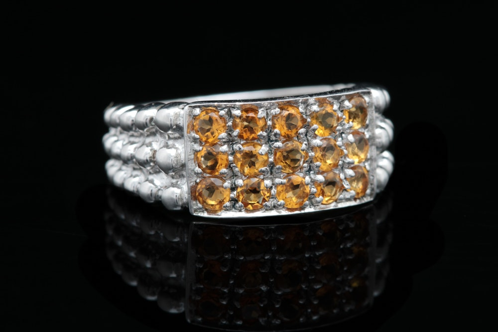 Sterling Silver and Citrine Ring