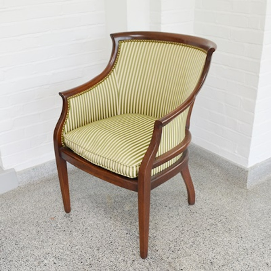 Hickory Chair Furniture Co Upholstered Mahogany Armchair Ebth