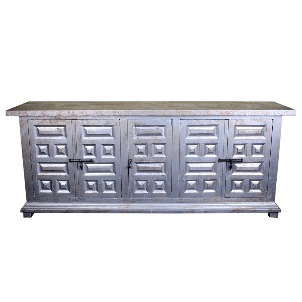 Hand Painted Silver And Gold Painted Buffet By Drexel ...