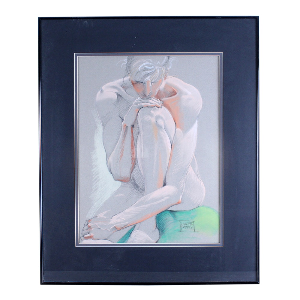 "Claudia Hammer Pastel Drawing of Female Nude ""Green Cushion"""