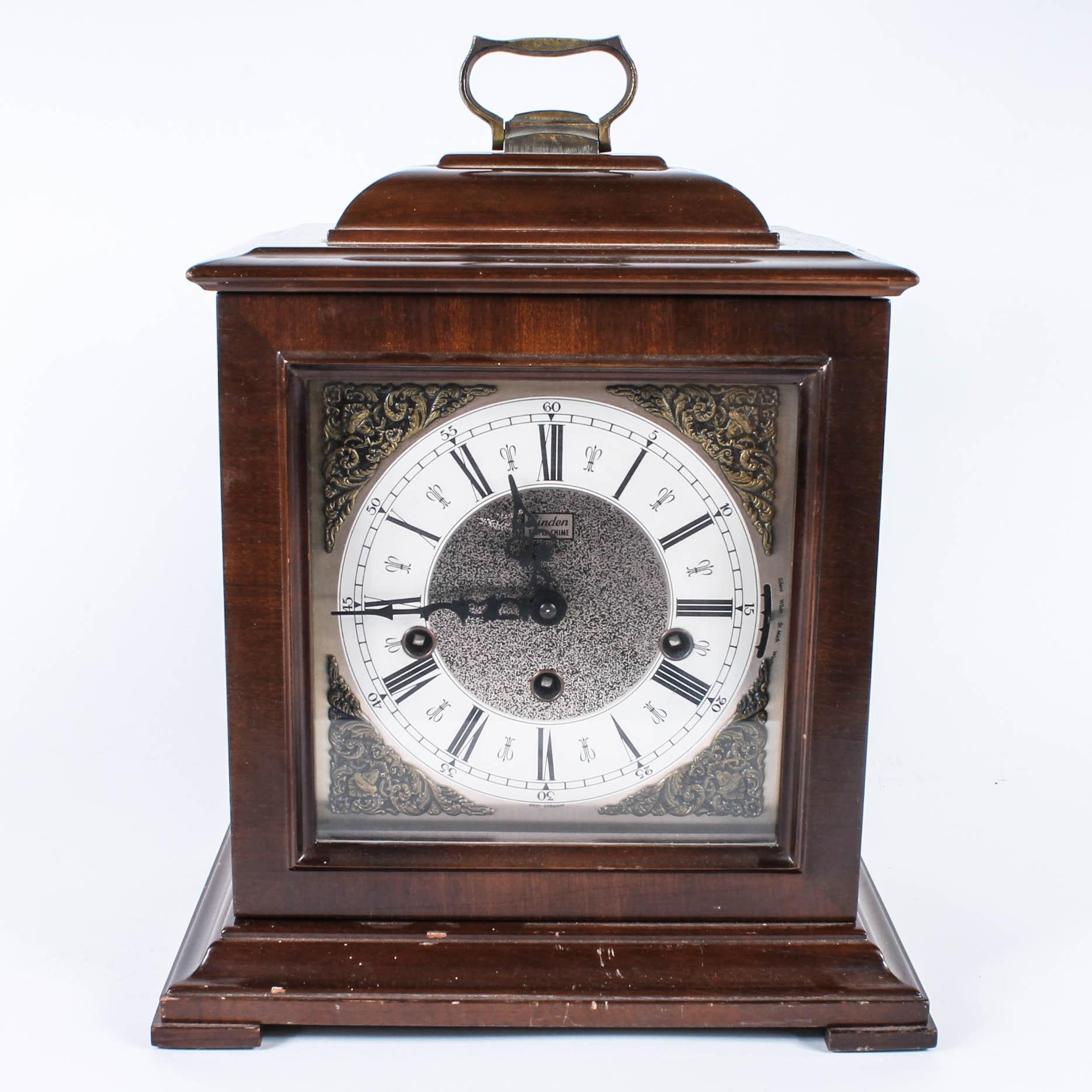 Vintage Linden German Made Chiming Mantel Clock Ebth