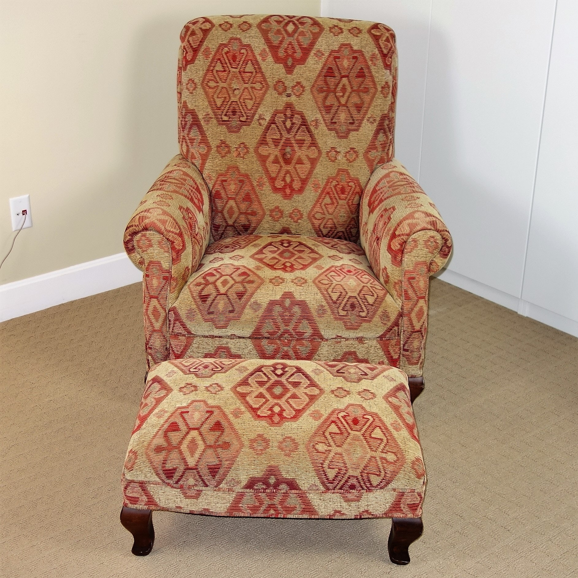 """""""Scottsdale Moss"""" Upholstered Armchair and Ottoman by Arhaus"""