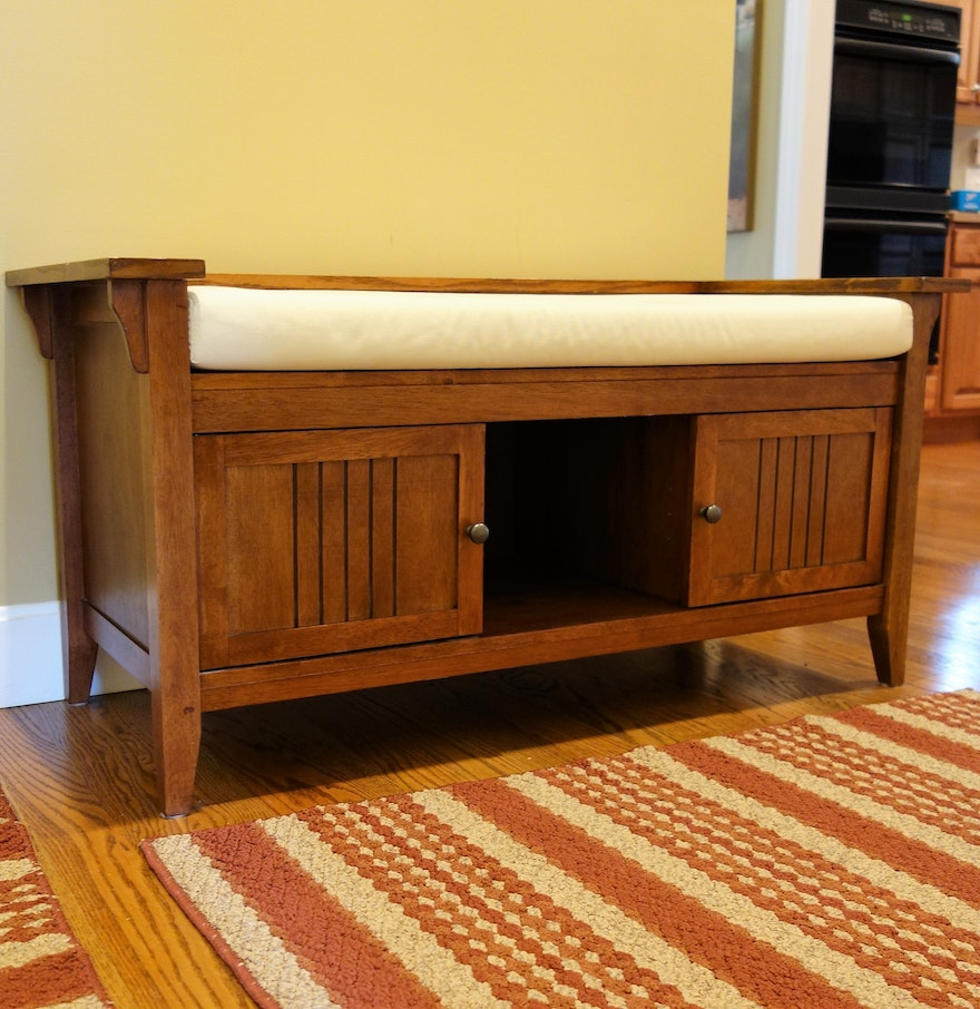 Contemporary Mission Style Hall Bench Ebth