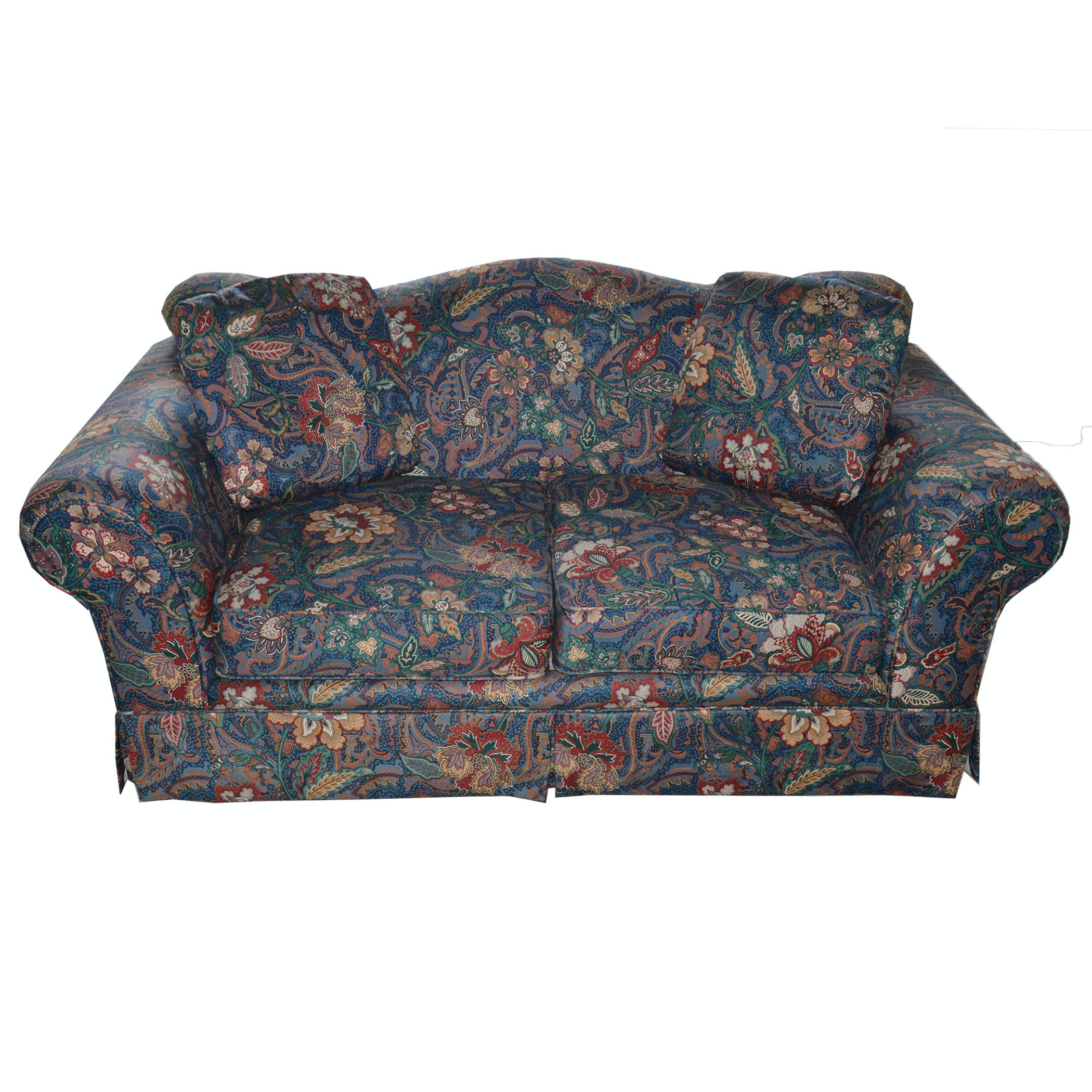 Navy Upholstered Floral Loveseat