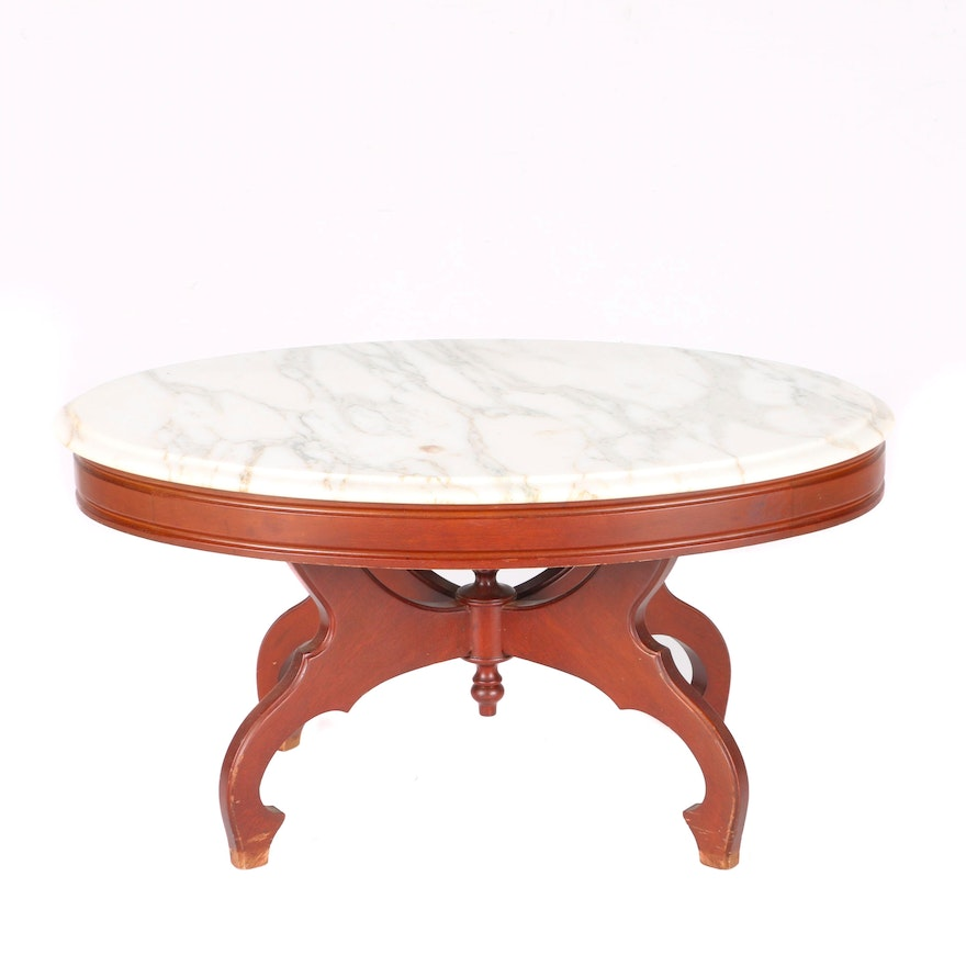 Antique Marble Top Coffee Table: Vintage Victorian Style Marble Top Coffee Table In