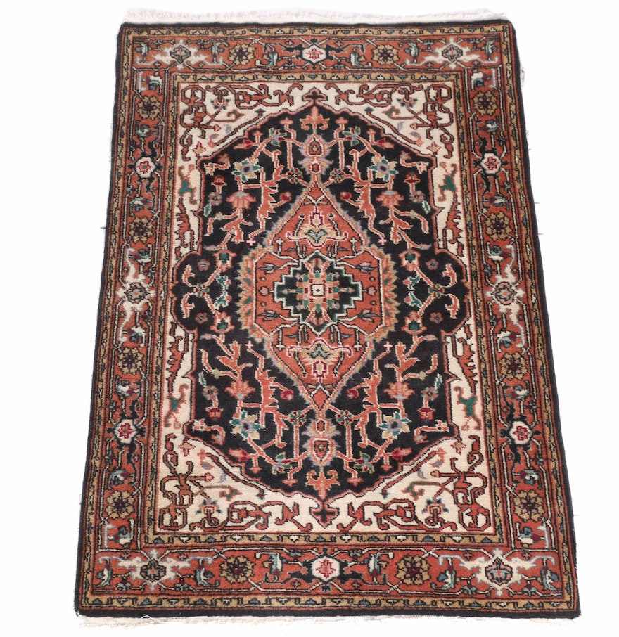 Hand Knotted Indo Persian Obeetee Wool Area Rug Ebth: Hand-Knotted Indo-Persian Heriz Area Rug : EBTH