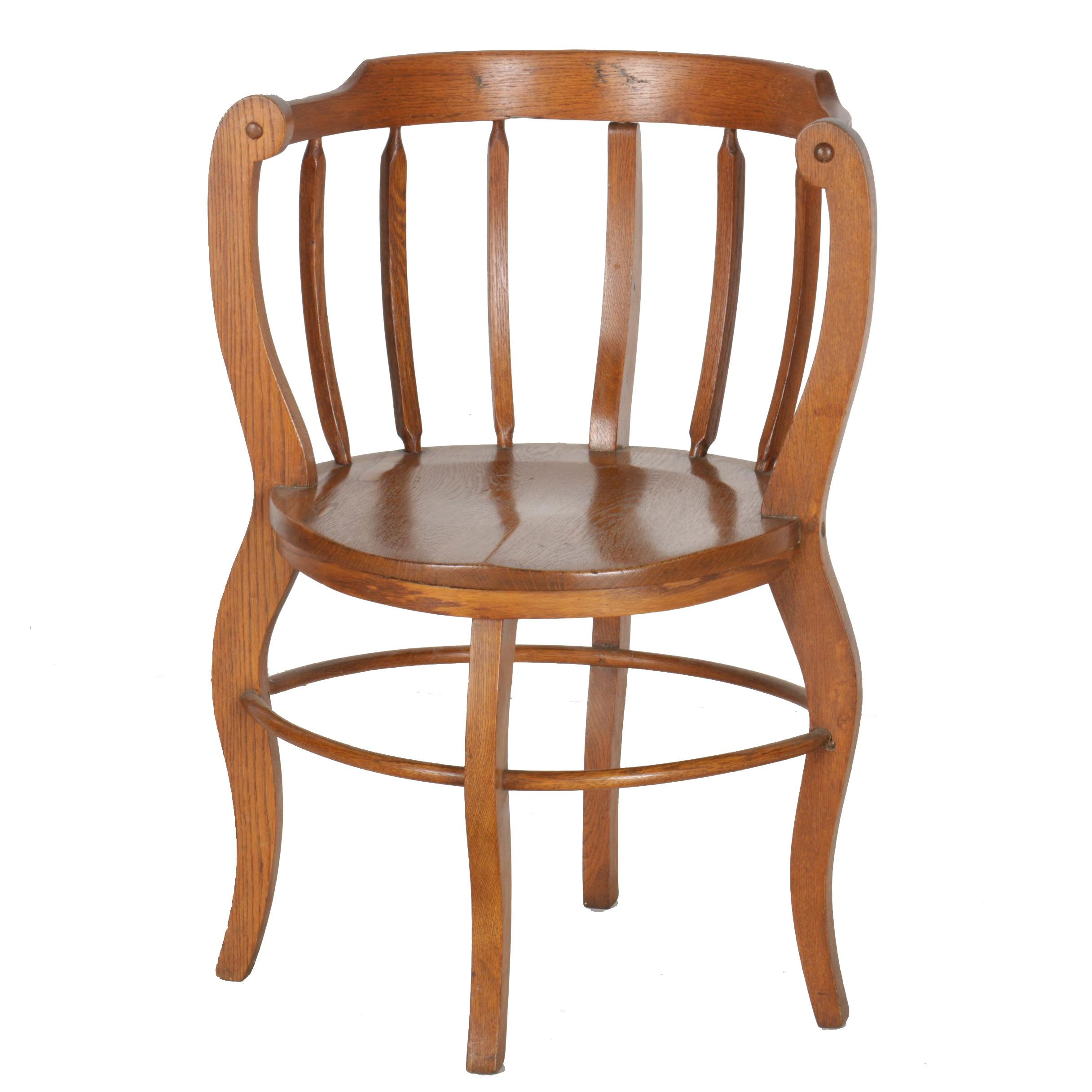 Vintage Oak Round Spindle Back Chair ...