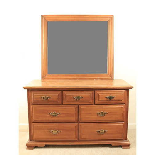 Vintage Seven-Drawer Dresser With Mirror by Sumter Cabinet Co.