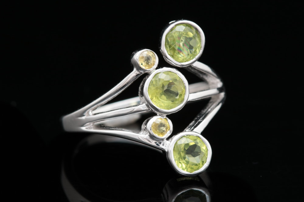 Sterling Silver, Peridot and Citrine Ring