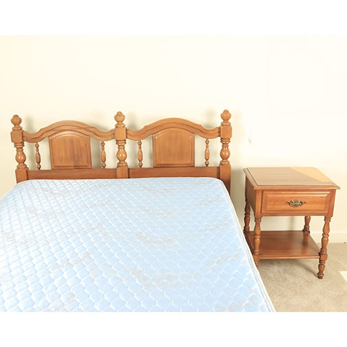 Vintage Full Size Bed Frame and Nightstand by Sumter Cabinet Co.