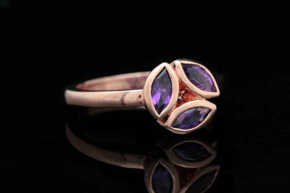 Rose Gold Plate Sterling Silver and Amethyst Ring