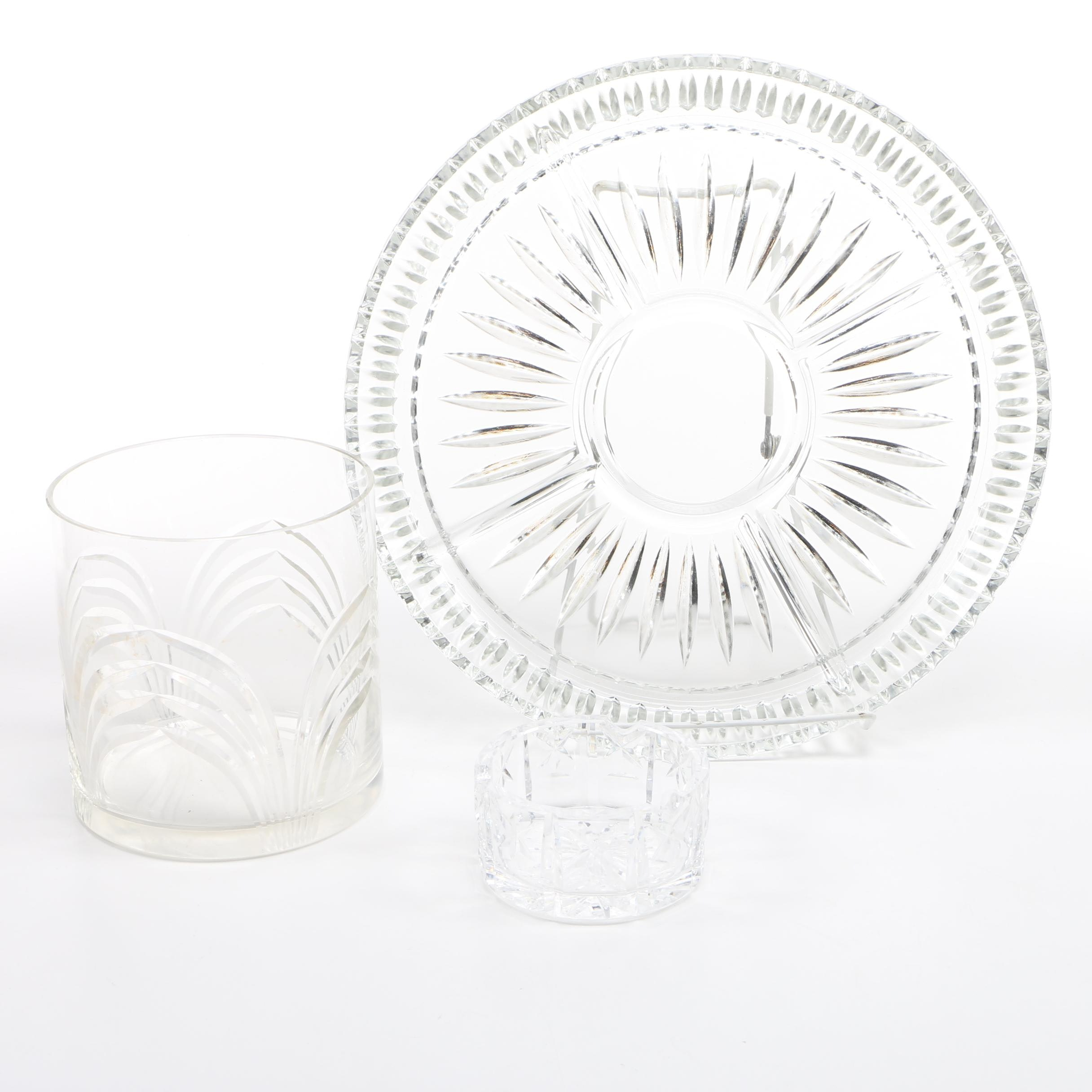 Cut Crystal Ashtray. Platter, and Vase