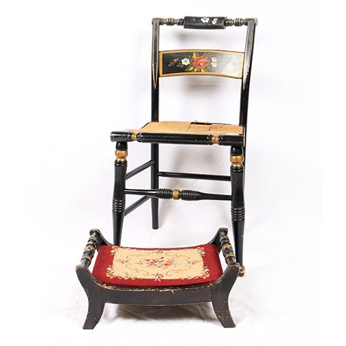 Hitchcock Style Paint-Decorated Side Chair With L. Hitchcock Footstool