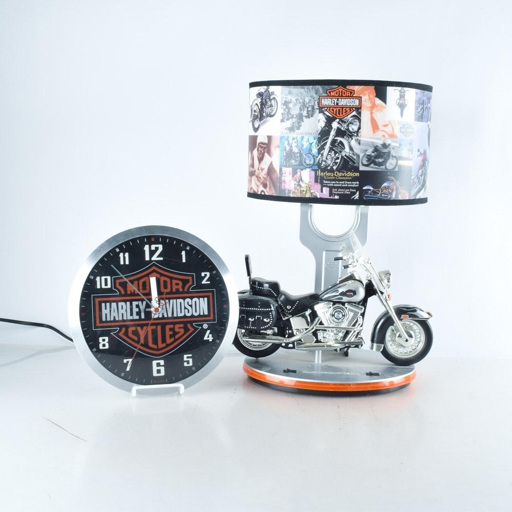 Harley Davidson Lamp And Wall Clock ...