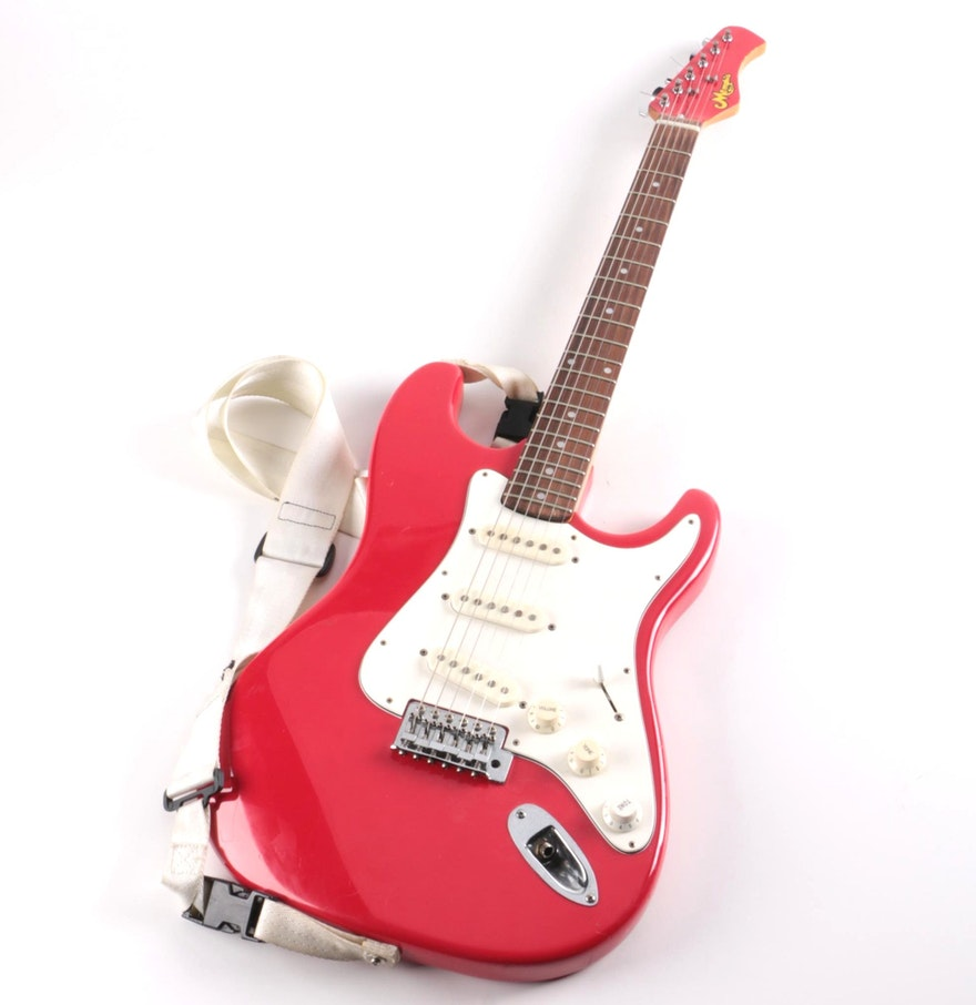 memphis brand strat style electric guitar ebth. Black Bedroom Furniture Sets. Home Design Ideas