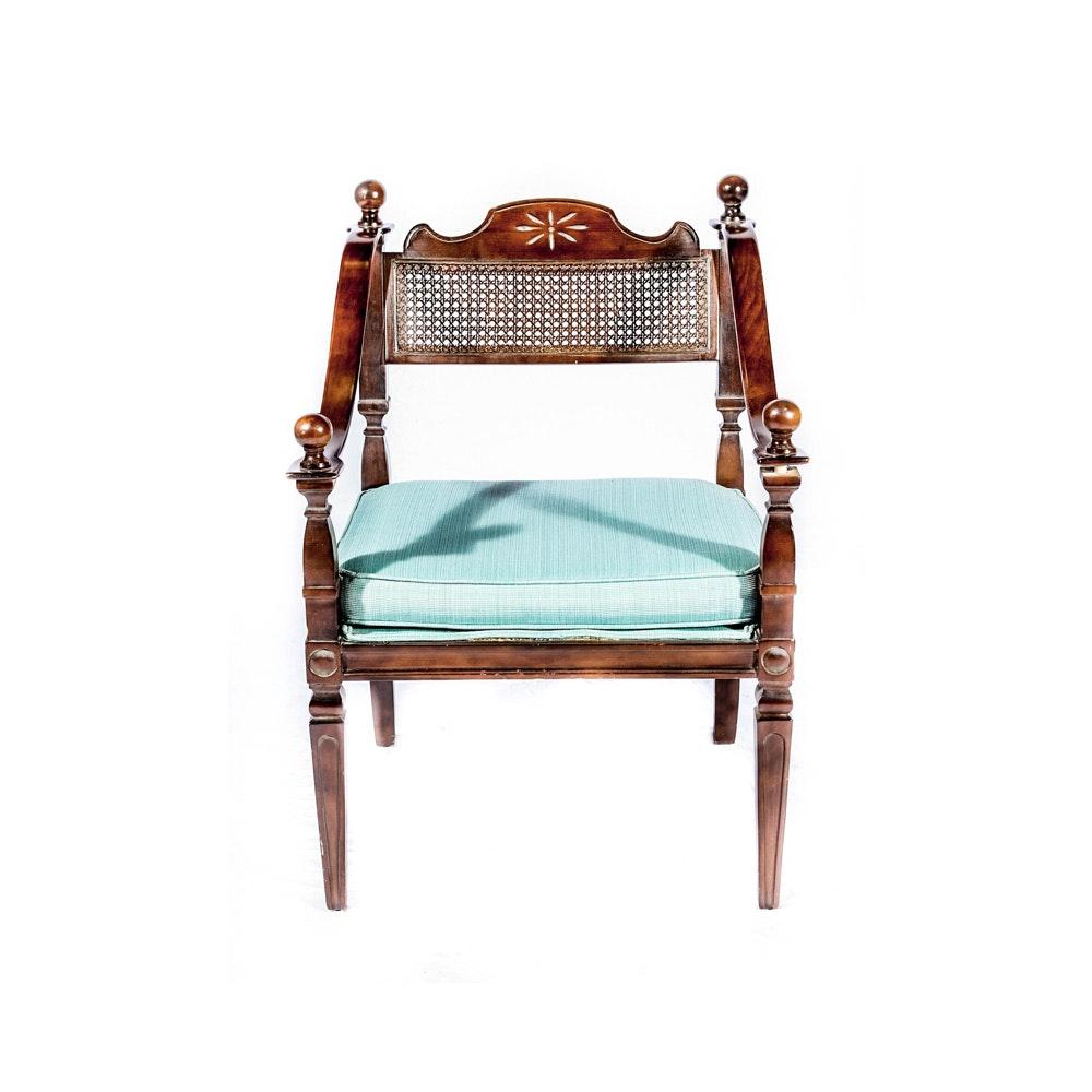 Sheraton Style  Mahogany Armchair With Cane Back