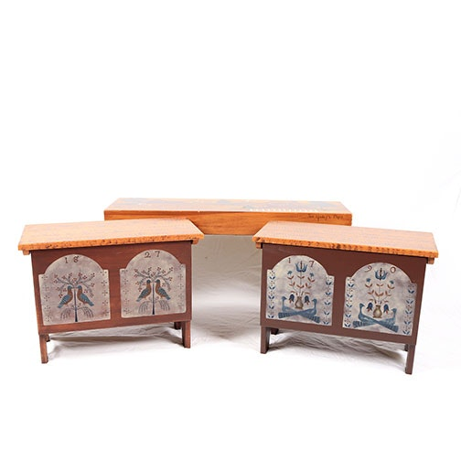 Hand Painted Bench and Storage Boxes