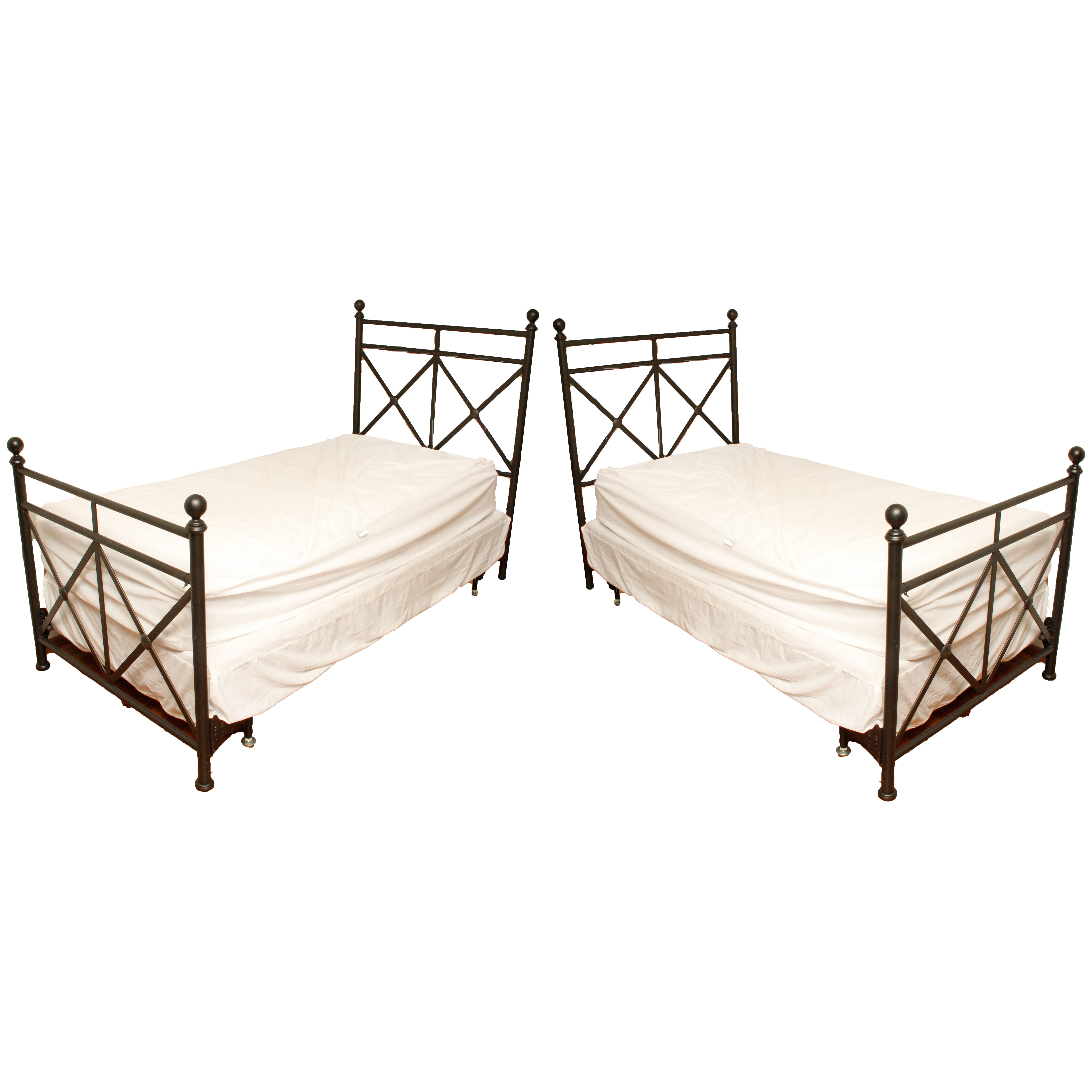 pair of metal twin bed frames