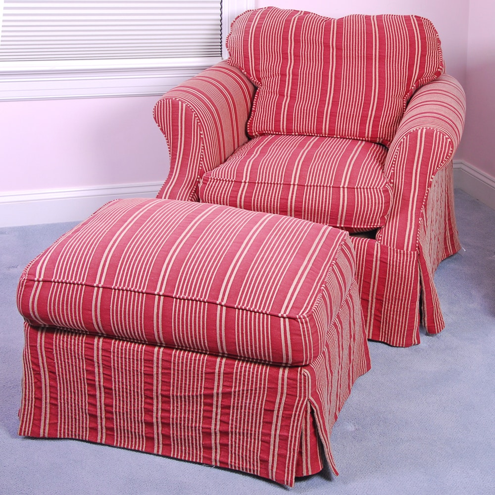Domain Red and White Striped Armchair With Matching Ottoman