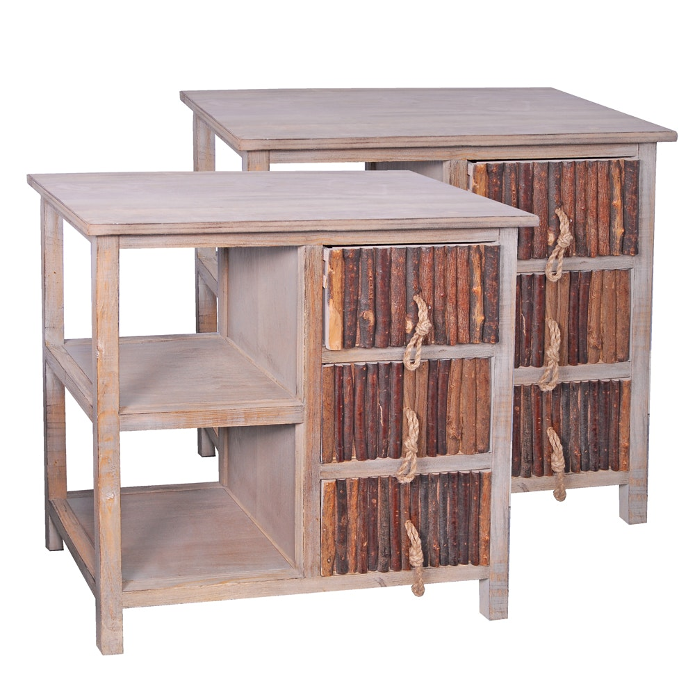Pair Rustic Style Side Tables With Stick Front Drawers