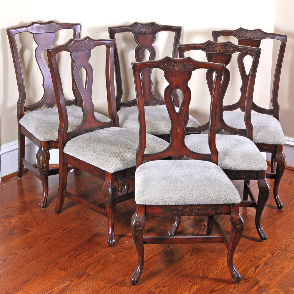 Set French Provincial Style Stenciled Dining Chairs