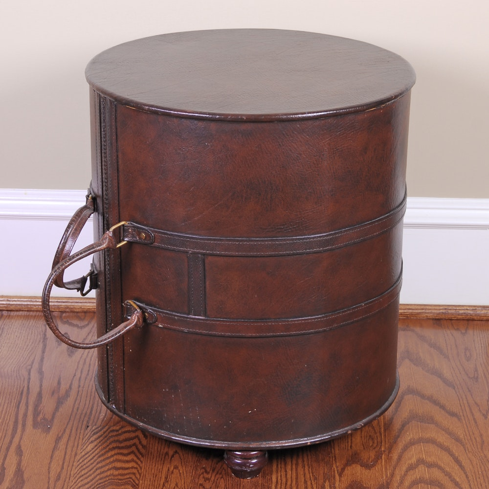 Cylindrical Barrel Bag Style Faux Leather Side Table