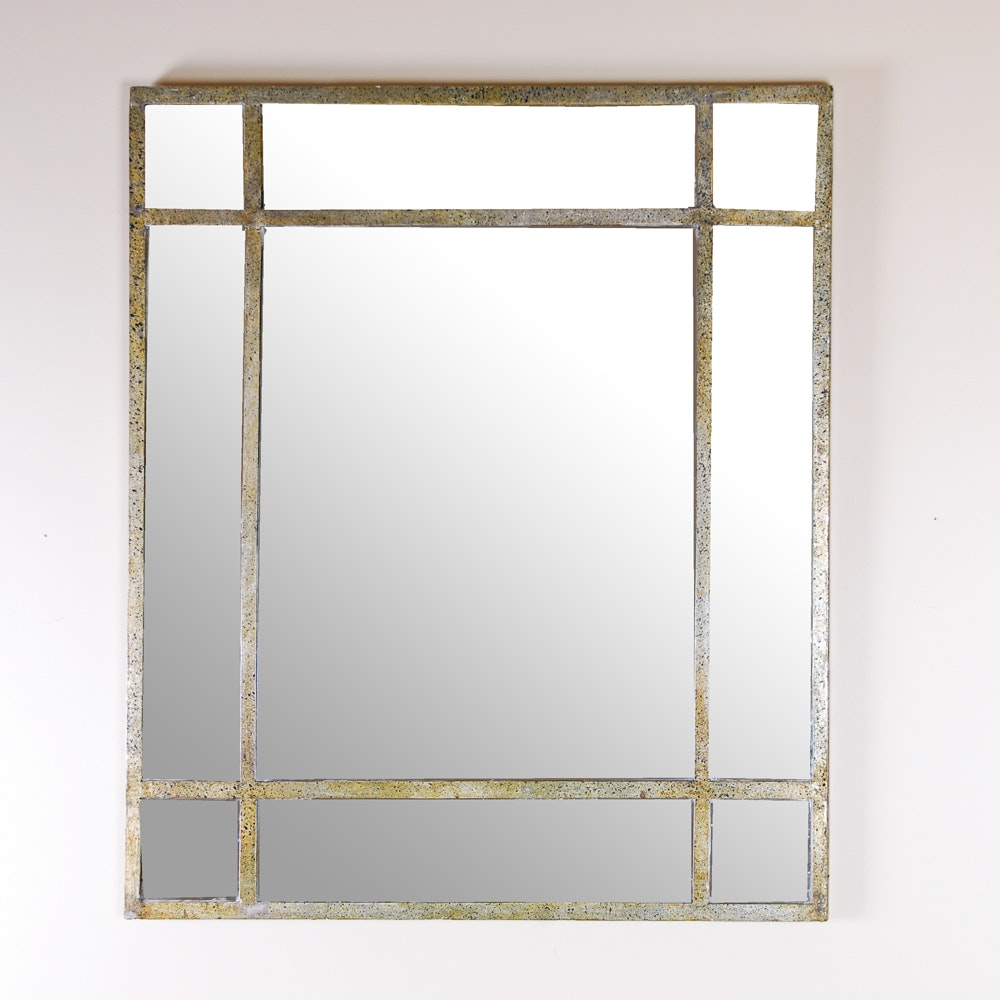 Wall Mirror With Metal Strip Detailing