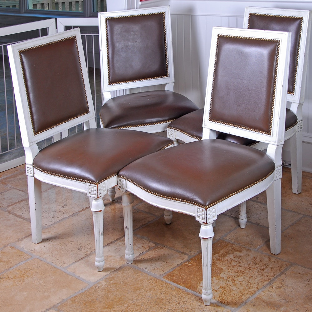 Four White Painted Wood and Leather Dining Chairs