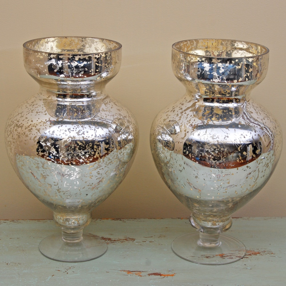 Pair of Silver Mercury Glass Style Vases