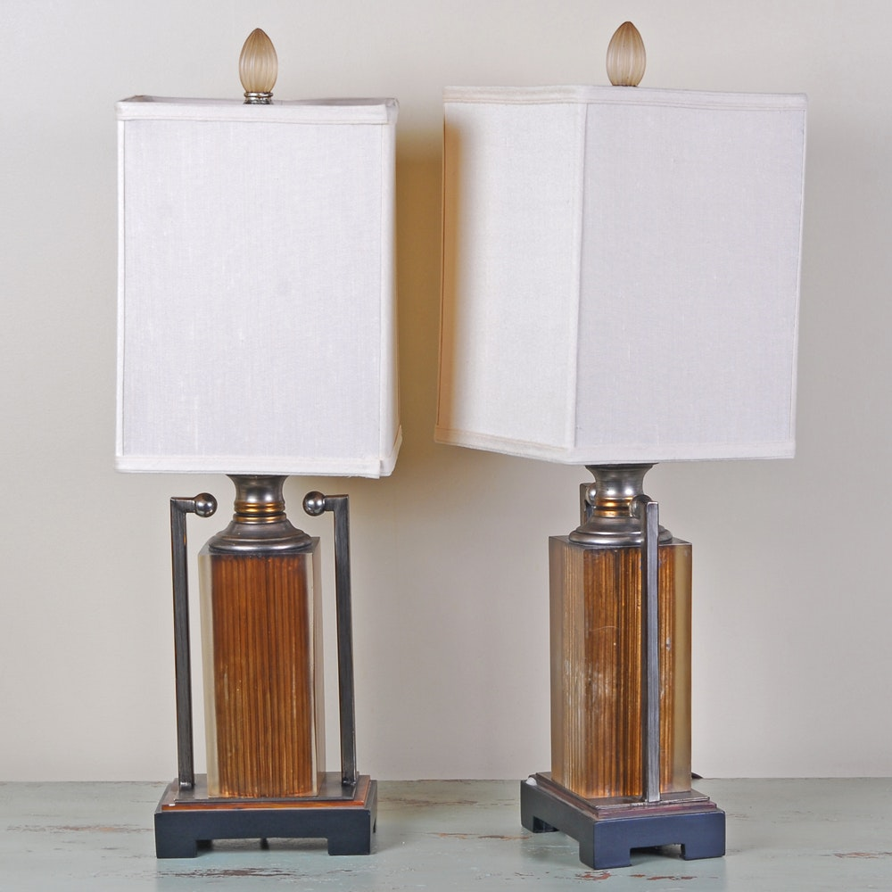 Pair of Modern Acrylic And Metal Table Lamps