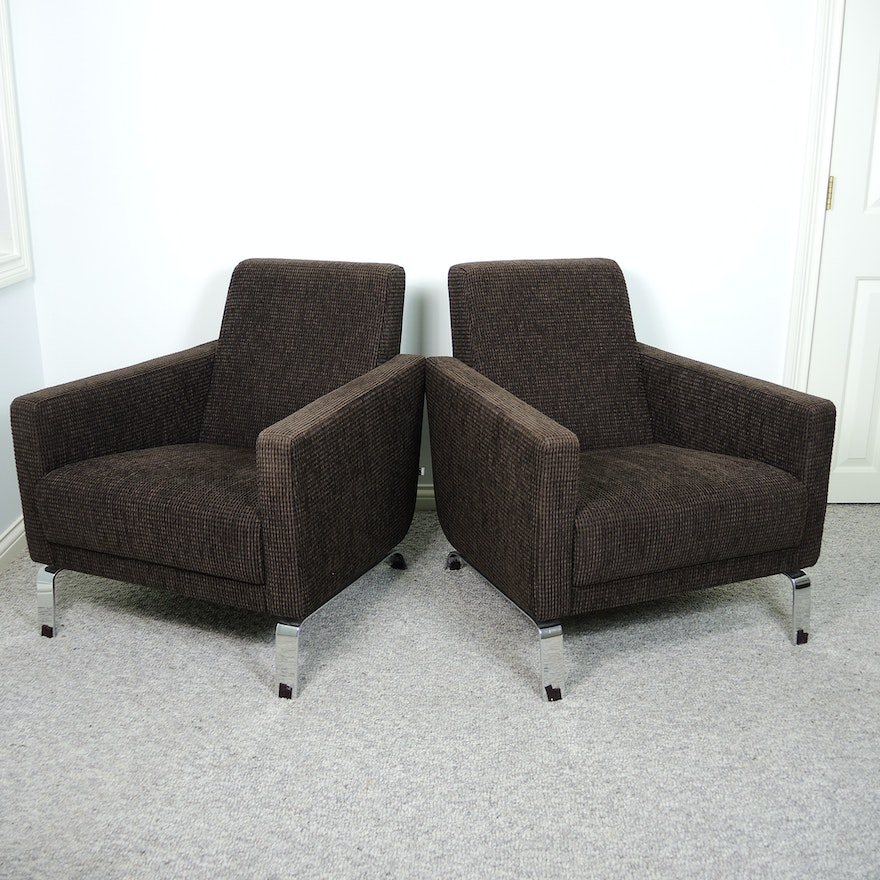 Bova Contemporary Brown Lounge Chair Set Ebth