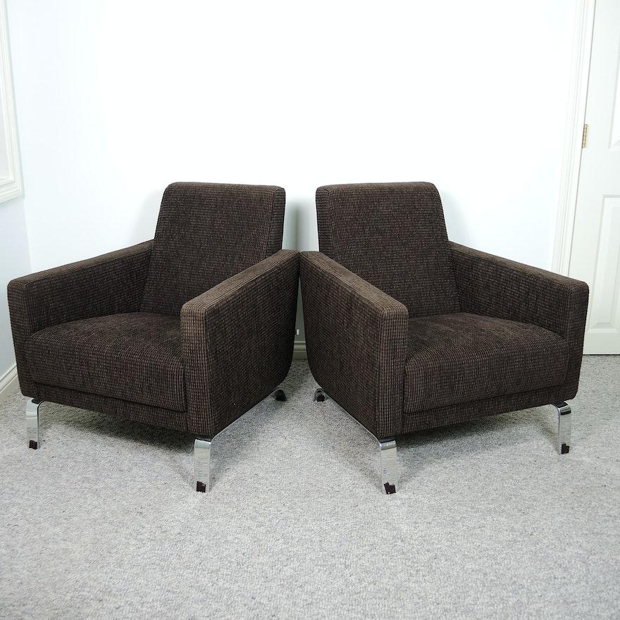 Bova Contemporary Brown Lounge Chair Set Ebth