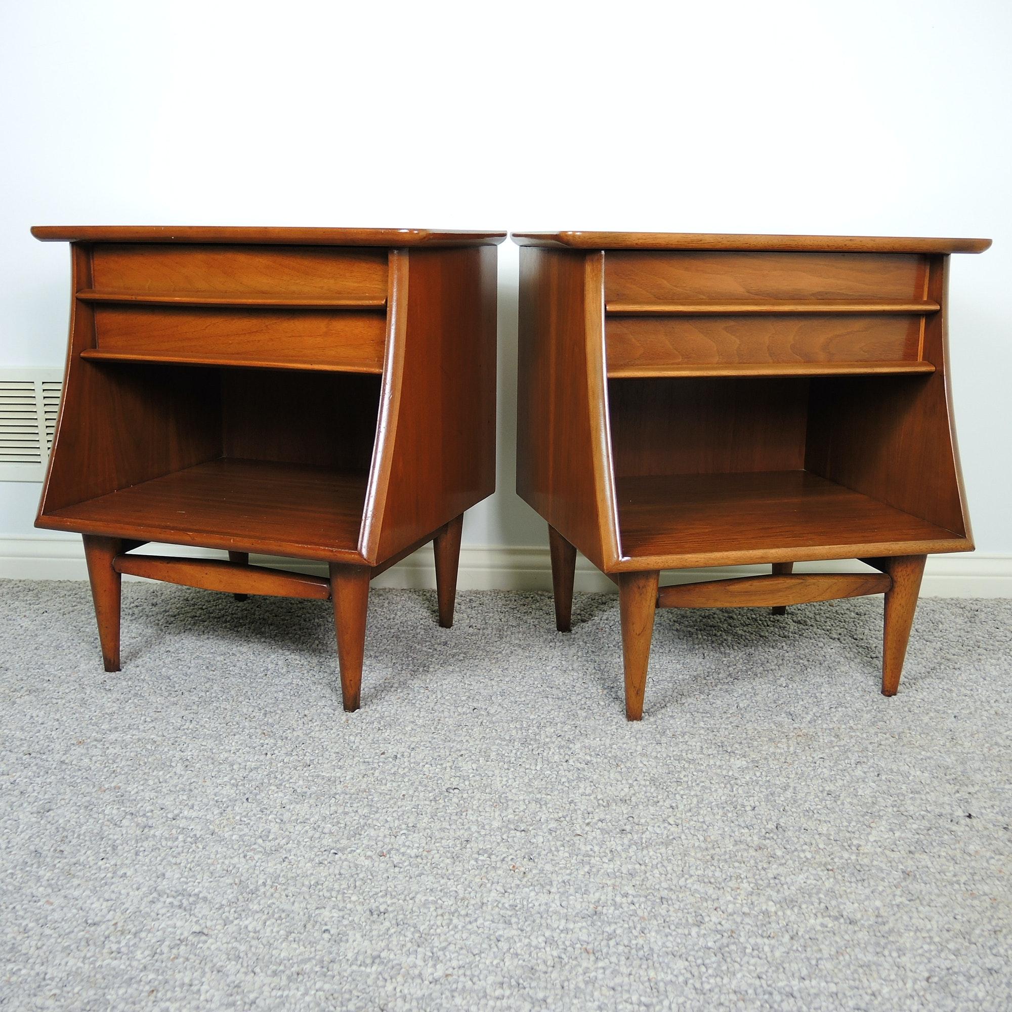 Mid Century Modern Walnut Side Table Set by Kent Coffey