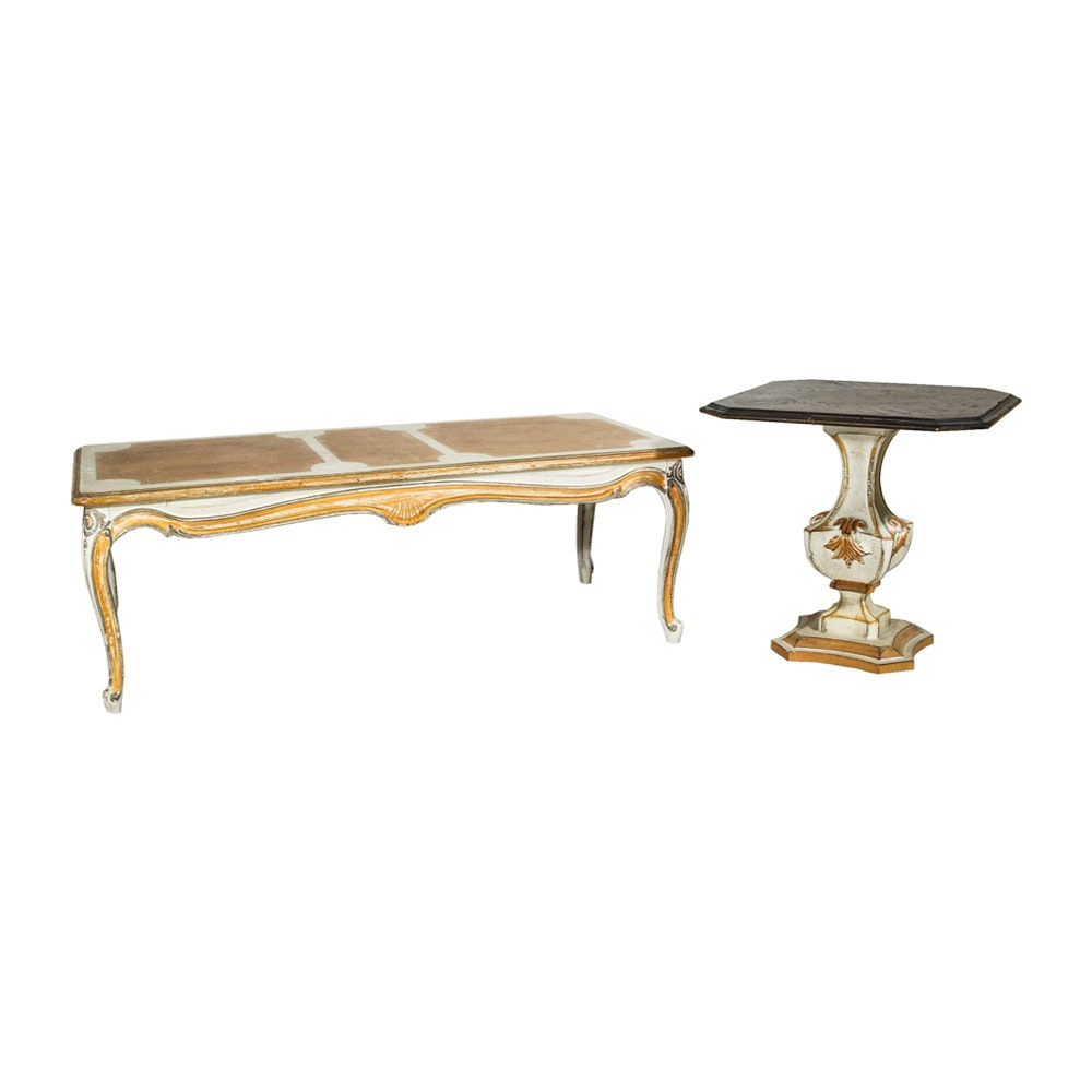Florentine Style Gilt and Painted Coffee Table with Matching End Table