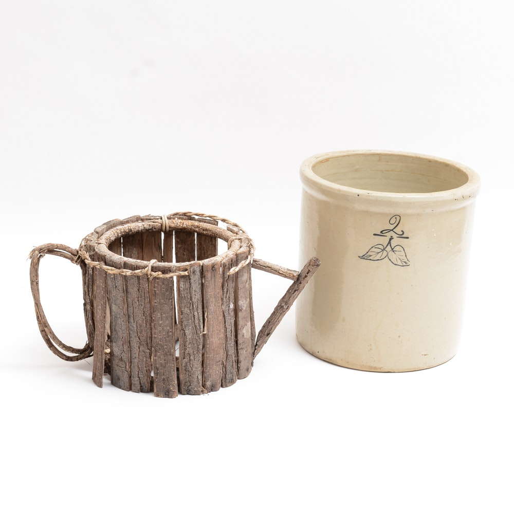 Vintage Two Gallon Crock and Primitive Bark Watering Can