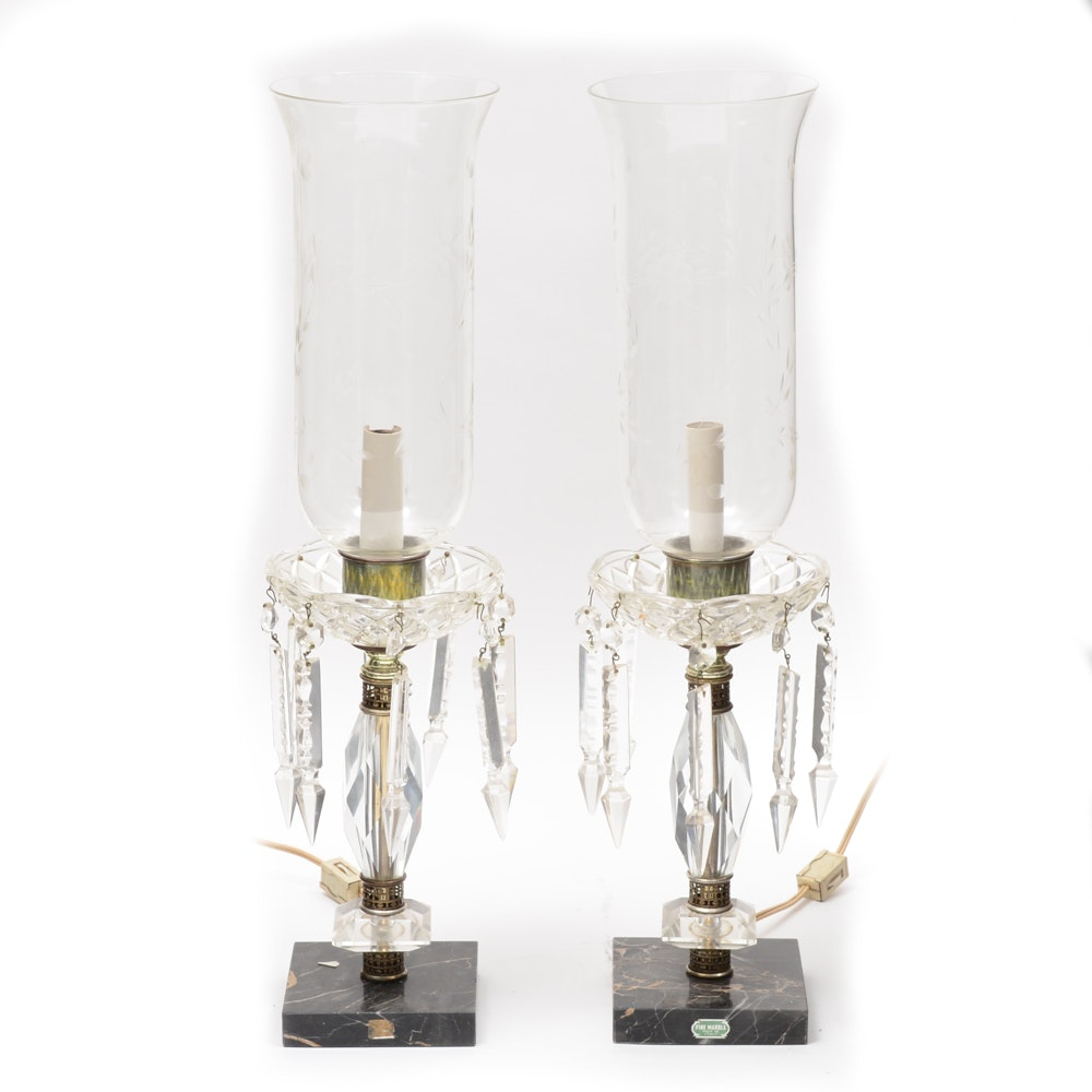 Pair of Cut Glass and Marble Lamps.