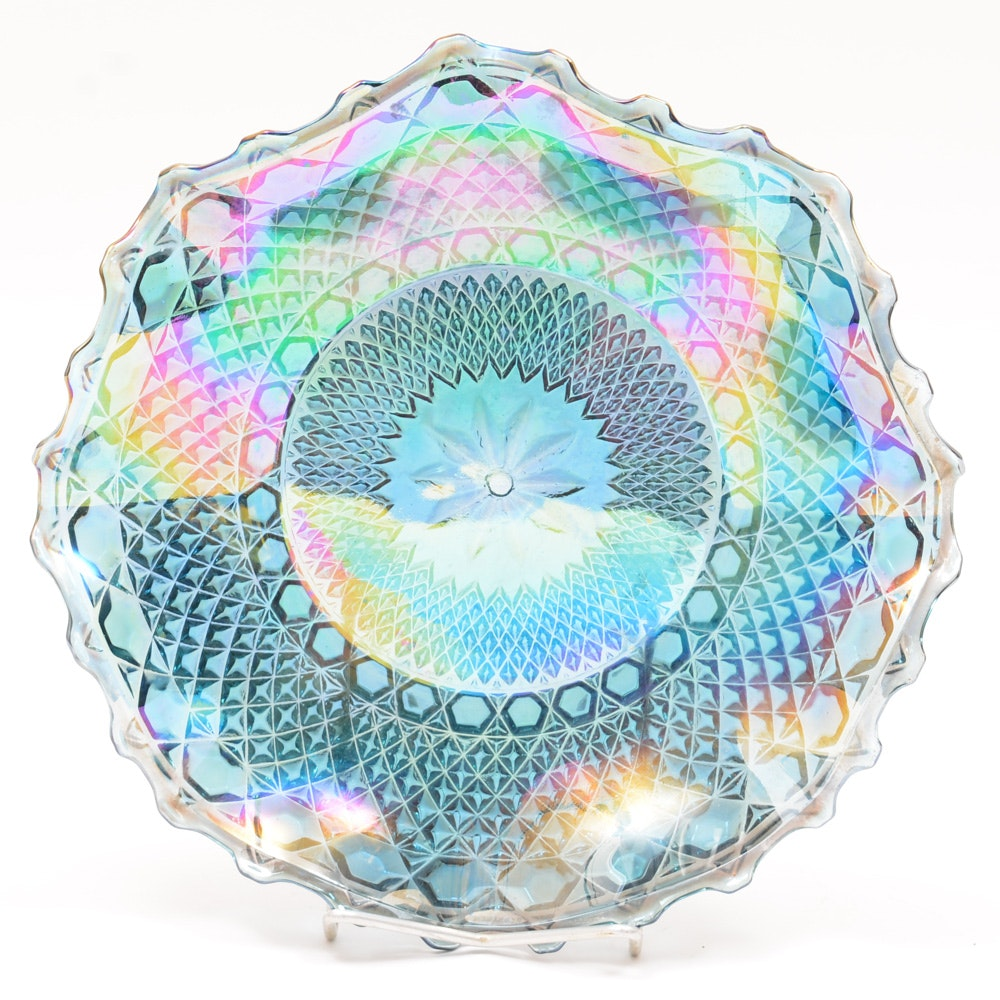 Blue Carnival Glass Plate