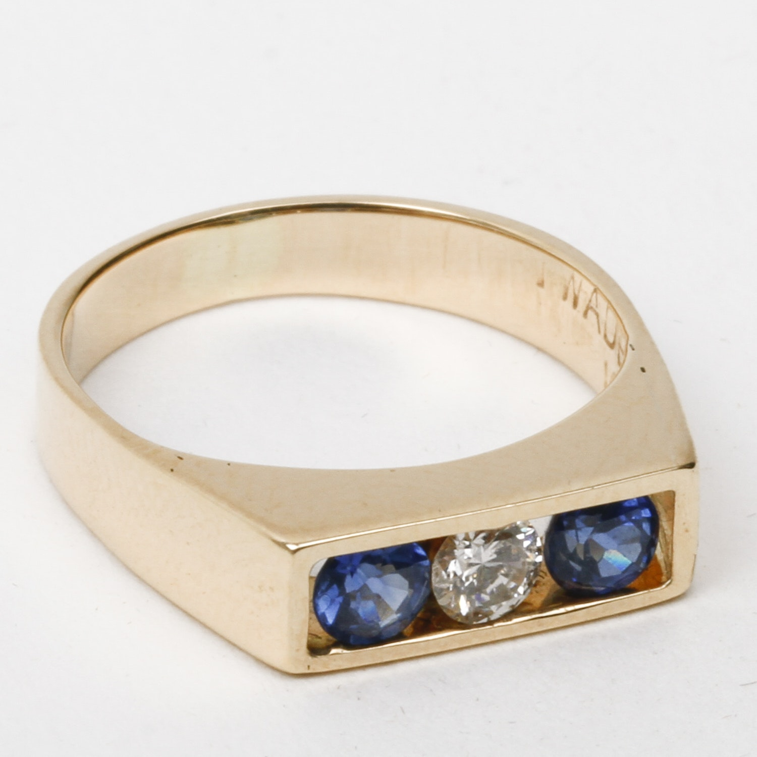 Wade 14K Yellow Gold, Diamond, and Sapphire Flat Top Pinky Ring