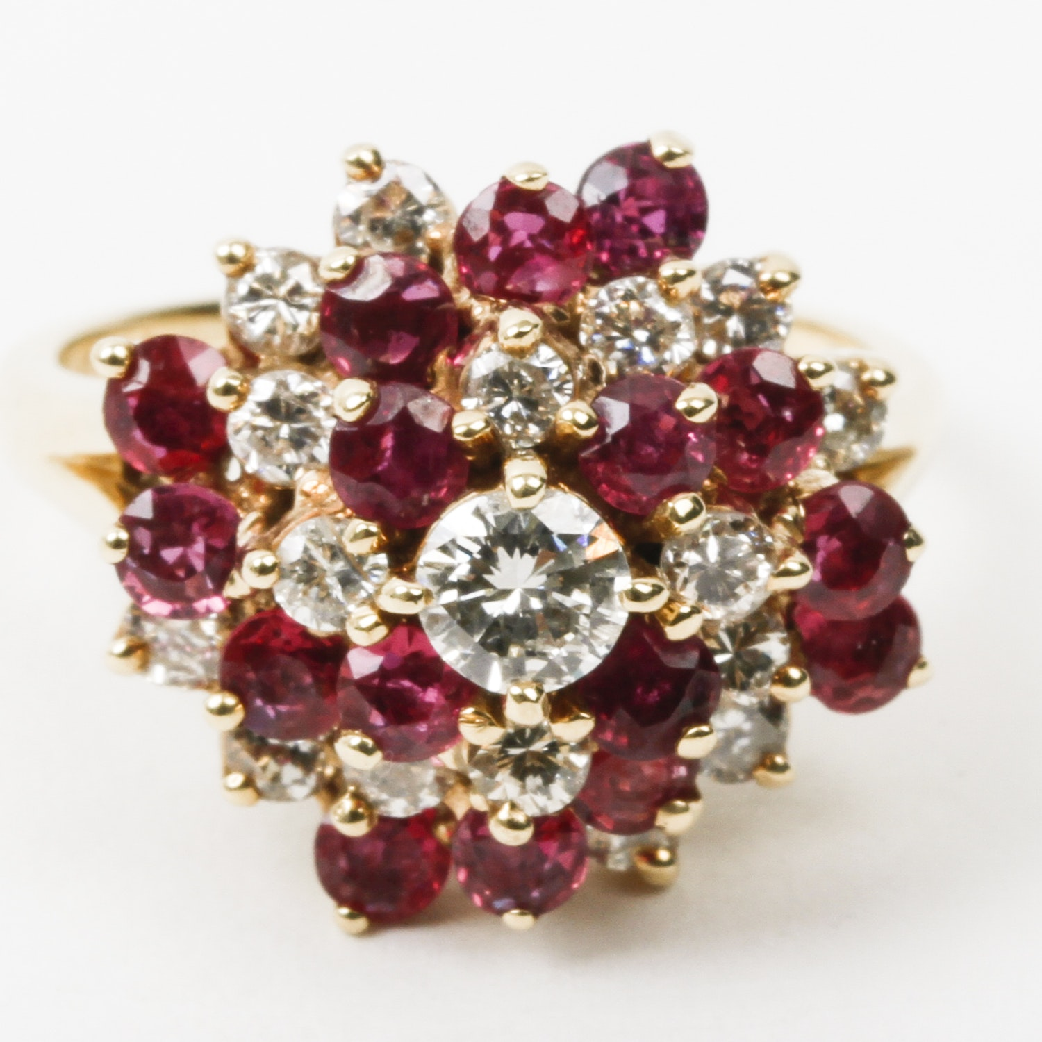 14K Yellow Gold, Ruby, and Diamond Cluster Ring