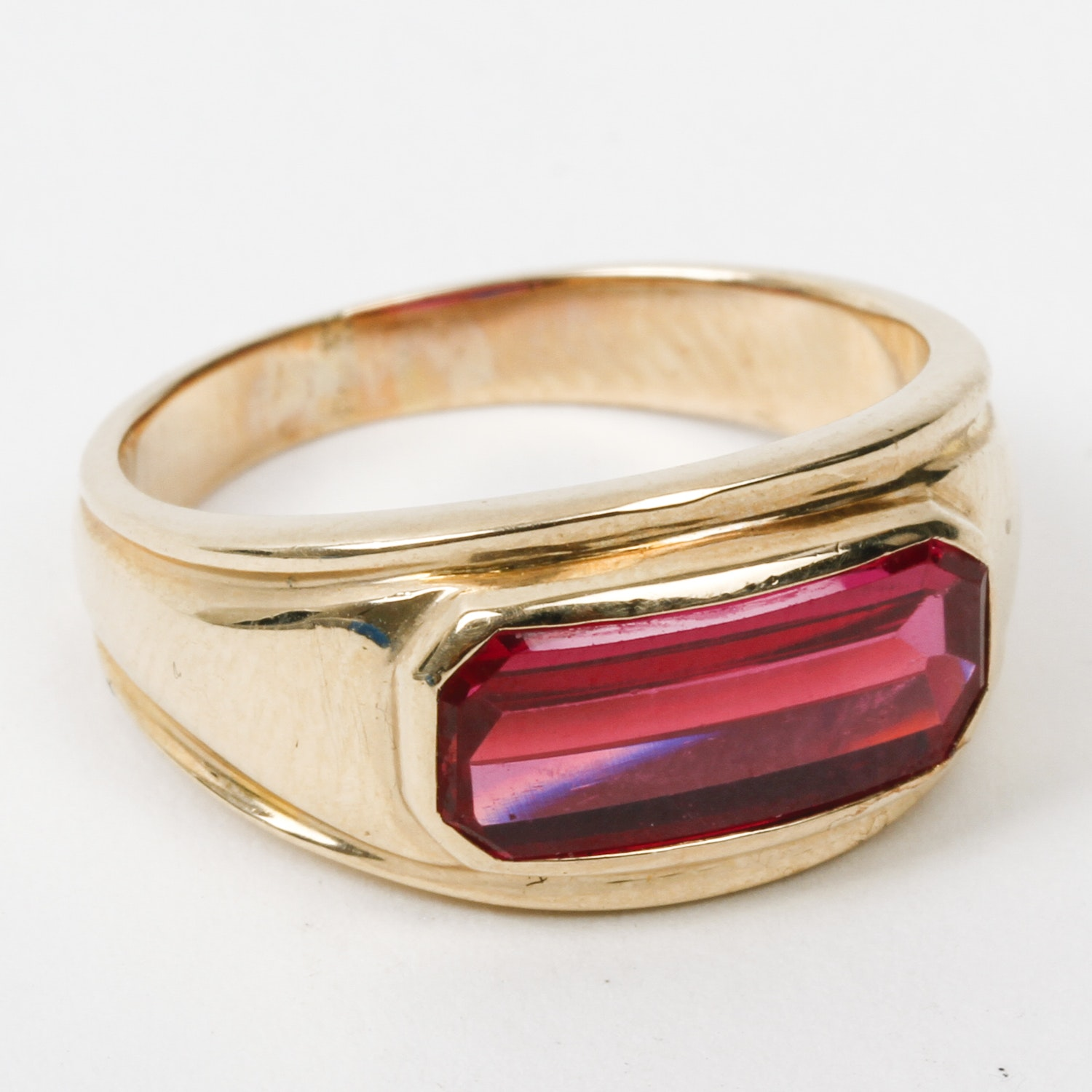 14K Yellow Gold and Synthetic Ruby Ring