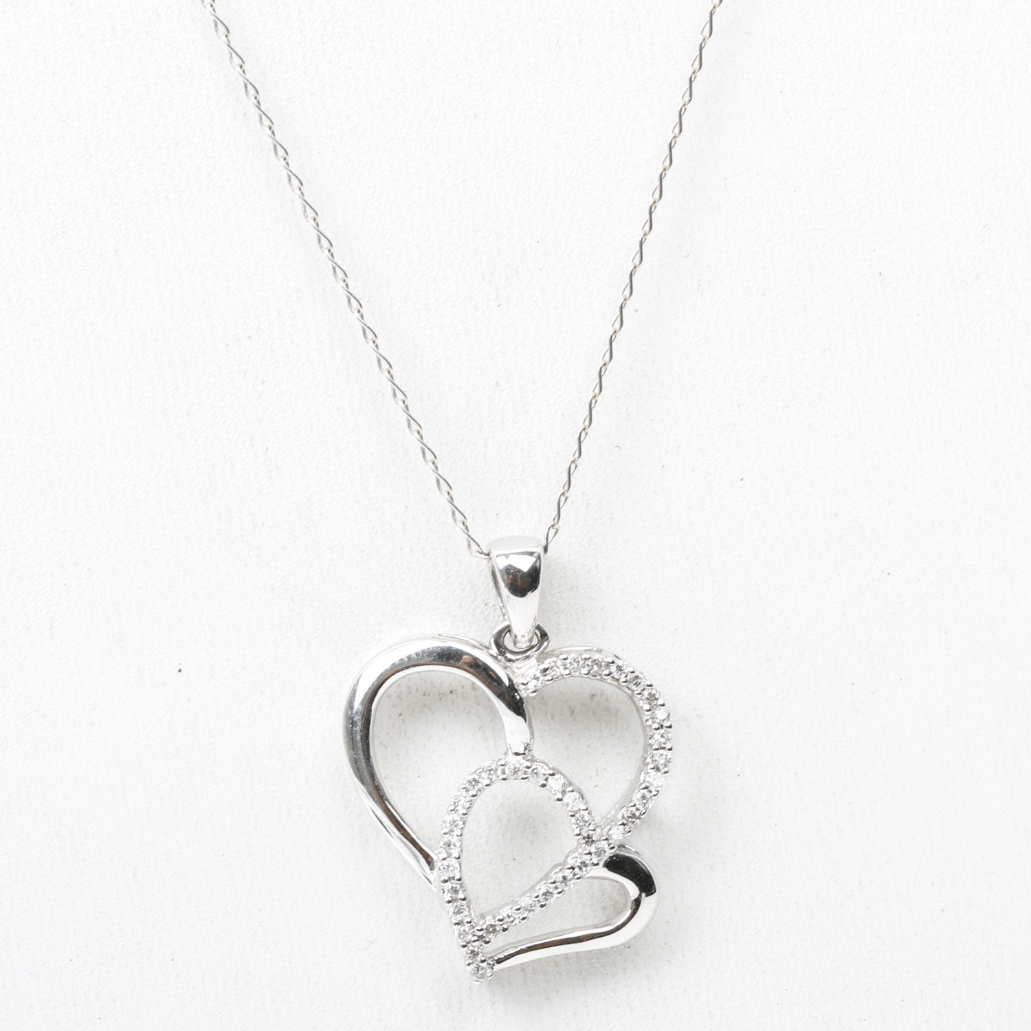 14K White Gold and Diamond Double Heart Pendant with 18K Chain